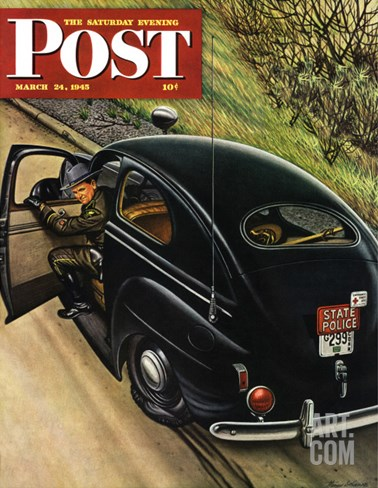 """Policeman with Flat Tire,"" Saturday Evening Post Cover, March 24, 1945 Stretched Canvas Print"