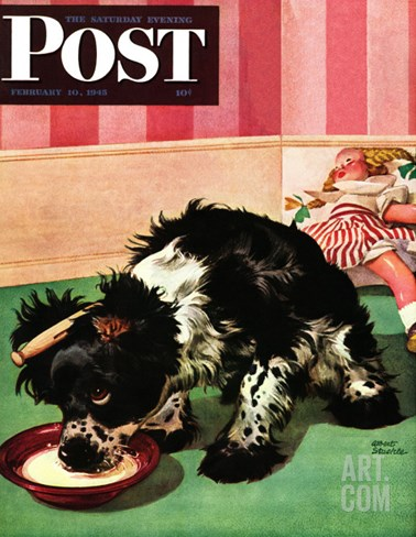 """Clothespinned Butch,"" Saturday Evening Post Cover, February 10, 1945 Stretched Canvas Print"