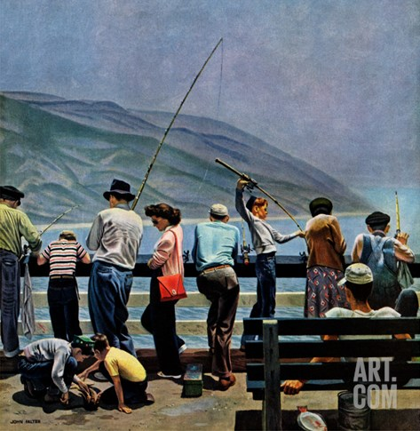 """Pier Fishing,"" August 13, 1949 Stretched Canvas Print"