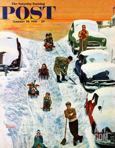 """Sledding and Digging Out,"" Saturday Evening Post Cover, January 28, 1961 Stretched Canvas Print"