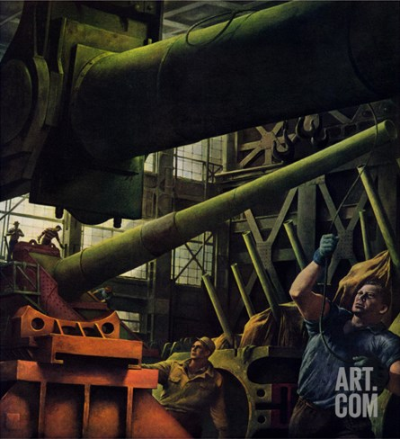 """Gun Factory,"" November 18, 1944 Stretched Canvas Print"