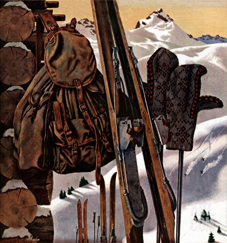 """Ski Equipment Still Life,"" February 3, 1945 Stretched Canvas Print"