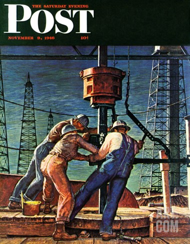 """Drilling for Oil,"" Saturday Evening Post Cover, November 9, 1946 Stretched Canvas Print"