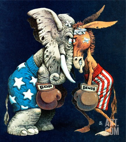 """Democrats vs. Republicans,"" July/Aug 1980 Stretched Canvas Print"