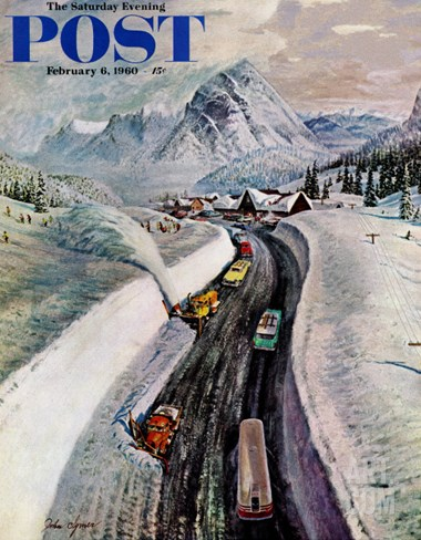"""Snowplows at Snoqualmie Pass,"" Saturday Evening Post Cover, February 6, 1960 Stretched Canvas Print"
