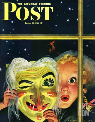 """Witch's Mask,"" Saturday Evening Post Cover, October 31, 1942 Stretched Canvas Print"