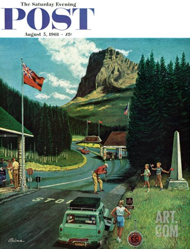 """U.S./Canadian Border at Waterton-Glacier,"" Saturday Evening Post Cover, August 5, 1961 Stretched Canvas Print"