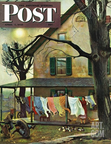 """Hanging Clothes Out to Dry,"" Saturday Evening Post Cover, April 7, 1945 Stretched Canvas Print"