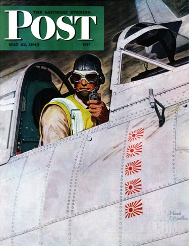 """""""Fighter Pilot,"""" Saturday Evening Post Cover, May 22, 1943 Stretched Canvas Print"""