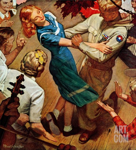 """Barn dance,"" November 25, 1944 Stretched Canvas Print"