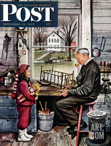 """Grandpa's Workshop,"" Saturday Evening Post Cover, November 12, 1949 Stretched Canvas Print"