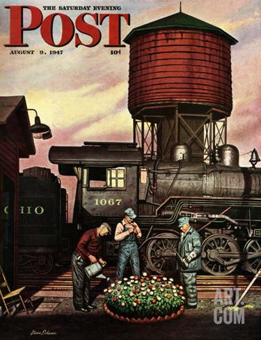 """Trainyard Flower Garden,"" Saturday Evening Post Cover, August 9, 1947 Stretched Canvas Print"