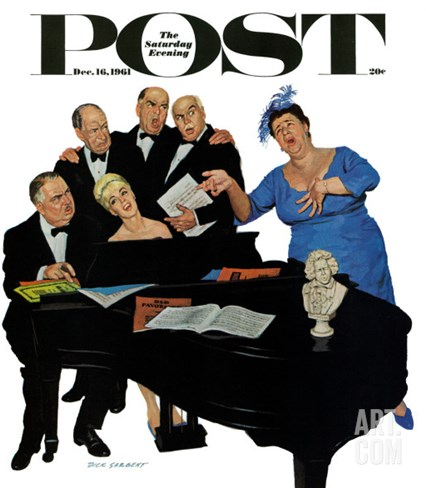 """The Fat Lady Sings,"" Saturday Evening Post Cover, December 16, 1961 Stretched Canvas Print"