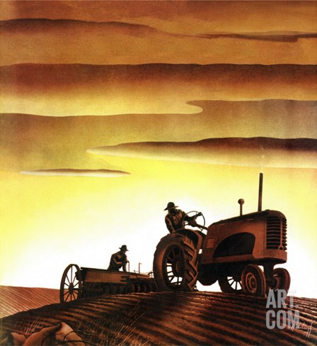 """Tractors at Sunset,"" October 3, 1942 Stretched Canvas Print"