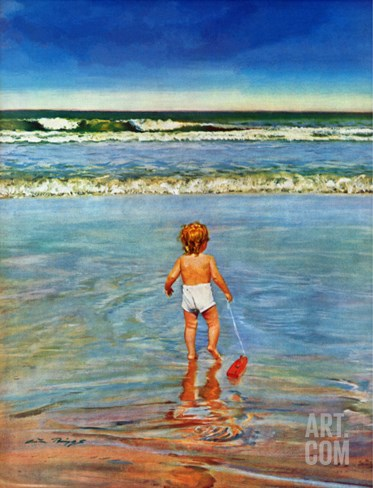 """Baby at the Beach,"" July 23, 1949 Stretched Canvas Print"