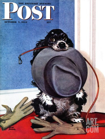 """Go for A Walk?,"" Saturday Evening Post Cover, October 7, 1944 Stretched Canvas Print"