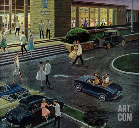 """Prom Dates in Parking Lot,"" May 19, 1962 Stretched Canvas Print"