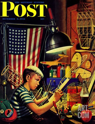"""Model Airplanes,"" Saturday Evening Post Cover, December 9, 1944 Stretched Canvas Print"
