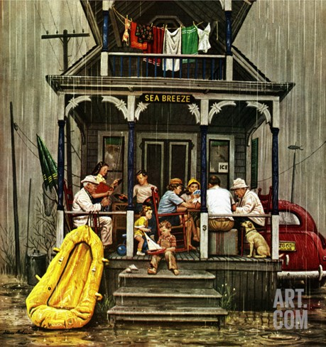 """Rainy Day at Beach Rental,"" July 31, 1948 Stretched Canvas Print"