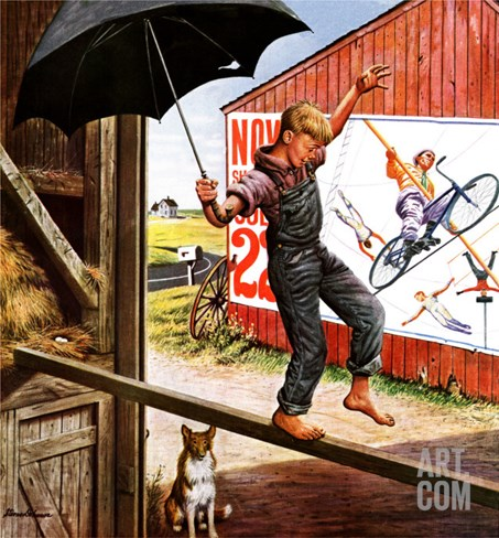 """Walking the Tightrope,"" June 11, 1949 Stretched Canvas Print"