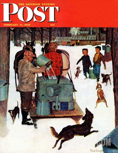 """Maple Syrup Time in Vermont,"" Saturday Evening Post Cover, February 17, 1945 Stretched Canvas Print"