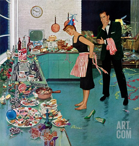 """After Party Clean-up,"" January 2, 1960 Stretched Canvas Print"