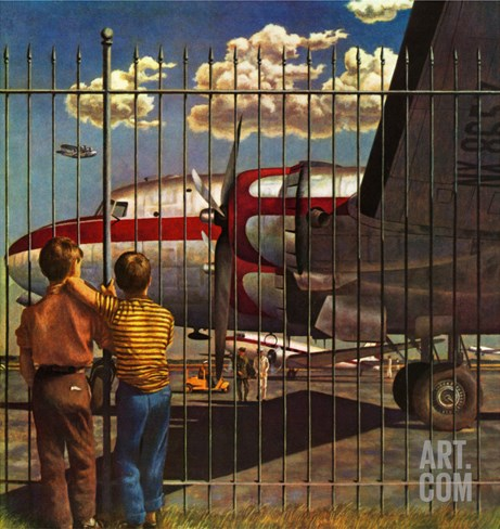"""Boys at Airport,"" March 30, 1946 Stretched Canvas Print"