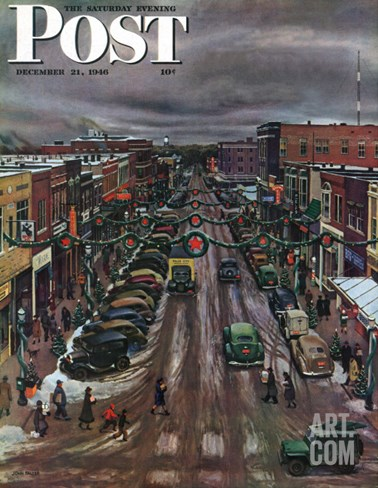 """Falls City, Nebraska at Christmas,"" Saturday Evening Post Cover, December 21, 1946 Stretched Canvas Print"