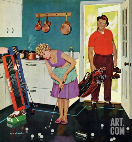 """Putting Around in the Kitchen,"" September 3, 1960 Stretched Canvas Print"
