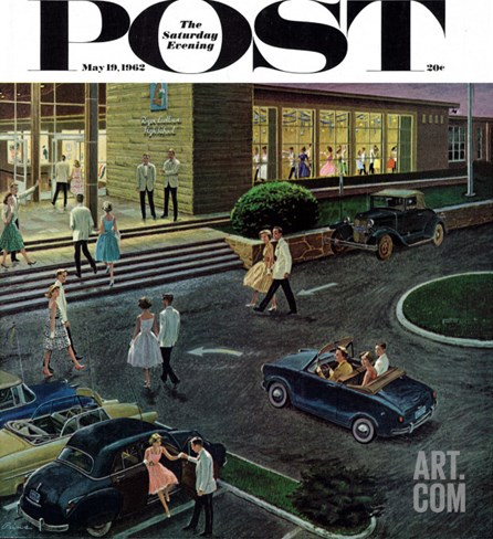 """Prom Dates in Parking Lot,"" Saturday Evening Post Cover, May 19, 1962 Stretched Canvas Print"