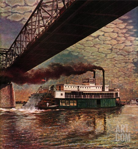 """Paddlewheeler on Ohio River,"" September 21, 1946 Stretched Canvas Print"