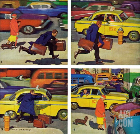 """Rush Hour (4 panel),"" October 21, 1961 Stretched Canvas Print"