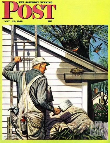"""Housepainter and Bird's Nest,"" Saturday Evening Post Cover, May 12, 1945 Stretched Canvas Print"