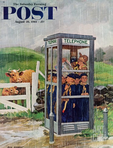 """Cub Scouts in Phone Booth,"" Saturday Evening Post Cover, August 26, 1961 Stretched Canvas Print"