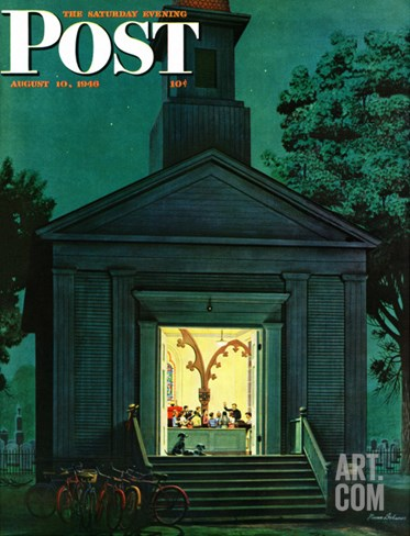"""Choir Practice,"" Saturday Evening Post Cover, August 10, 1946 Stretched Canvas Print"
