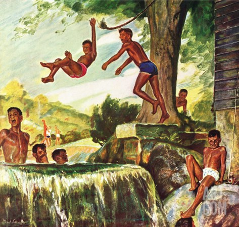 """Swimming Hole,"" June 25, 1949 Stretched Canvas Print"