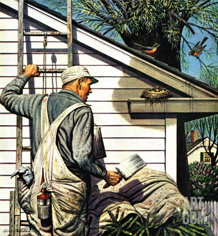 """Housepainter and Bird's Nest,"" May 12, 1945 Stretched Canvas Print"
