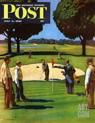 """Sand Trap,"" Saturday Evening Post Cover, July 3, 1948 Stretched Canvas Print"