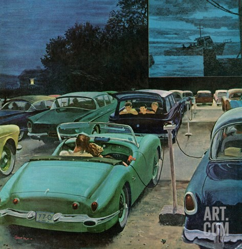 """Drive-In Movies,"" August 19, 1961 Stretched Canvas Print"