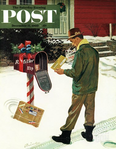 """Merry Christmas from the IRS,"" Saturday Evening Post Cover, December 17, 1960 Stretched Canvas Print"