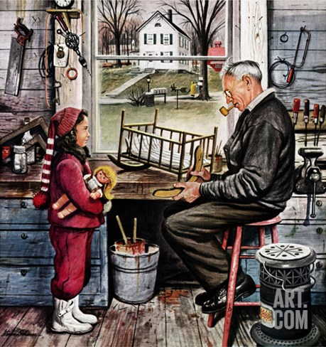 """Grandpa's Workshop,"" November 12, 1949 Stretched Canvas Print"