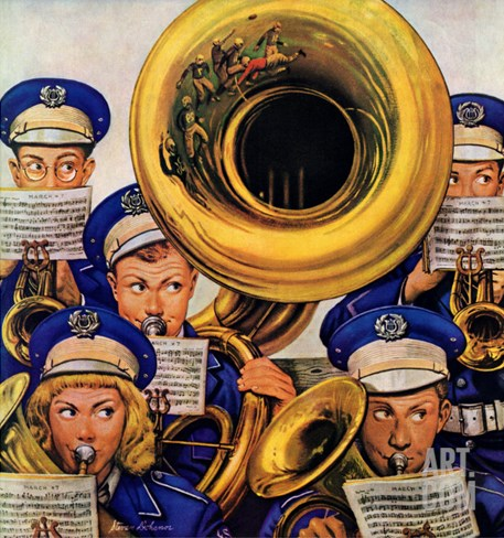 """March Band at Football Game,"" October 19, 1946 Stretched Canvas Print"