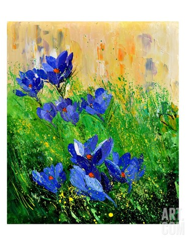 Crocuses Stretched Canvas Print