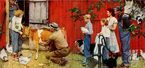 Norman Rockwell Visits a County Agent Stretched Canvas Print