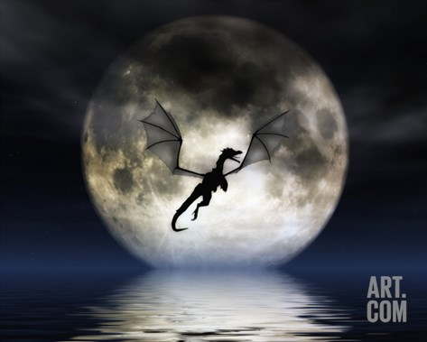 Dragon Moon Stretched Canvas Print