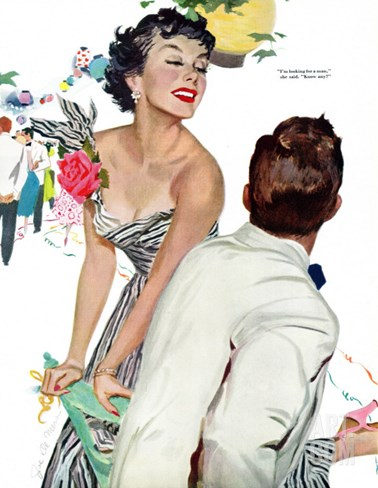 "I Want A Man  - Saturday Evening Post ""Leading Ladies"", April 15, 1950 pg.40 Stretched Canvas Print"