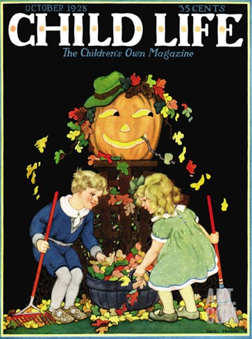 Fall Harvest - Child Life, October 1928 Stretched Canvas Print