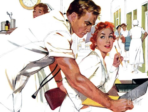 "Even Doctors Are Human  - Saturday Evening Post ""Leading Ladies"", April 3, 1954 pg.26 Stretched Canvas Print"
