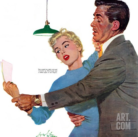 "Decitful Angel  - Saturday Evening Post ""Leading Ladies"", July 16, 1955 pg.21 Stretched Canvas Print"
