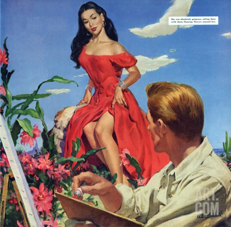 "The Desert Orchird  - Saturday Evening Post ""Leading Ladies"", December 6, 1952 pg.43 Stretched Canvas Print"